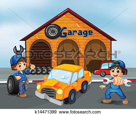 Clip Art of A damaged car in the middle of two boys in front of.
