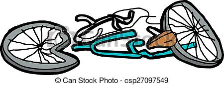 EPS Vector of Isolated Damaged Bicycle.