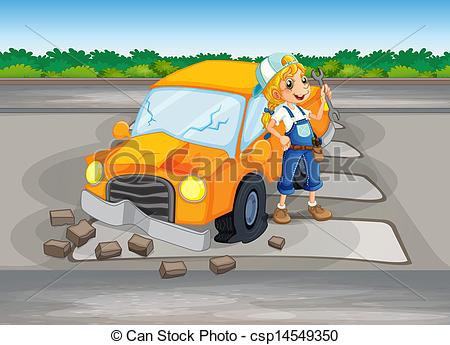 Clipart Vector of A girl repairing the damaged car at the road.