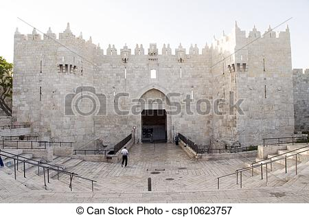 Stock Images of Damascus Gate entry to Old City Jerusalem.