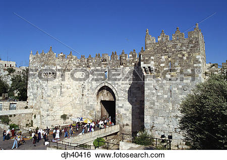 Stock Images of Israel, Jerusalem, Old City Wall, Damascus Gate.