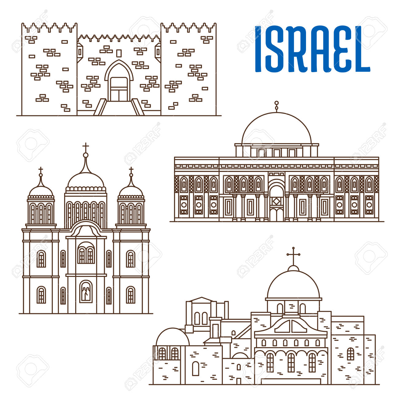Historic Buildings Of Israel. Vector Thin Line Icons Of Damascus.
