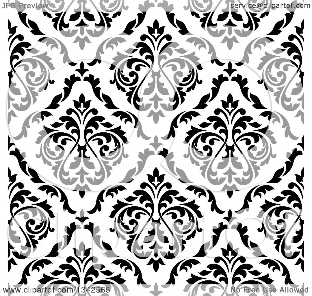 Clipart of a Seamless Pattern Background of Vintage Damask in Black.