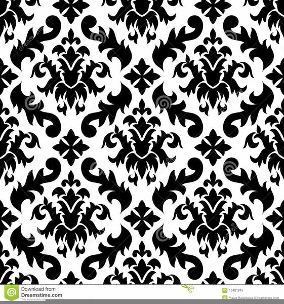Black And White Damask Background Clipart.