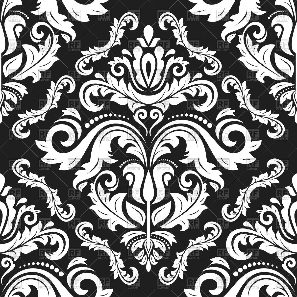 Classic seamless damask pattern Stock Vector Image.