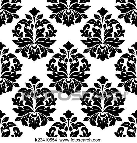 Black and white floral damask pattern Clipart.
