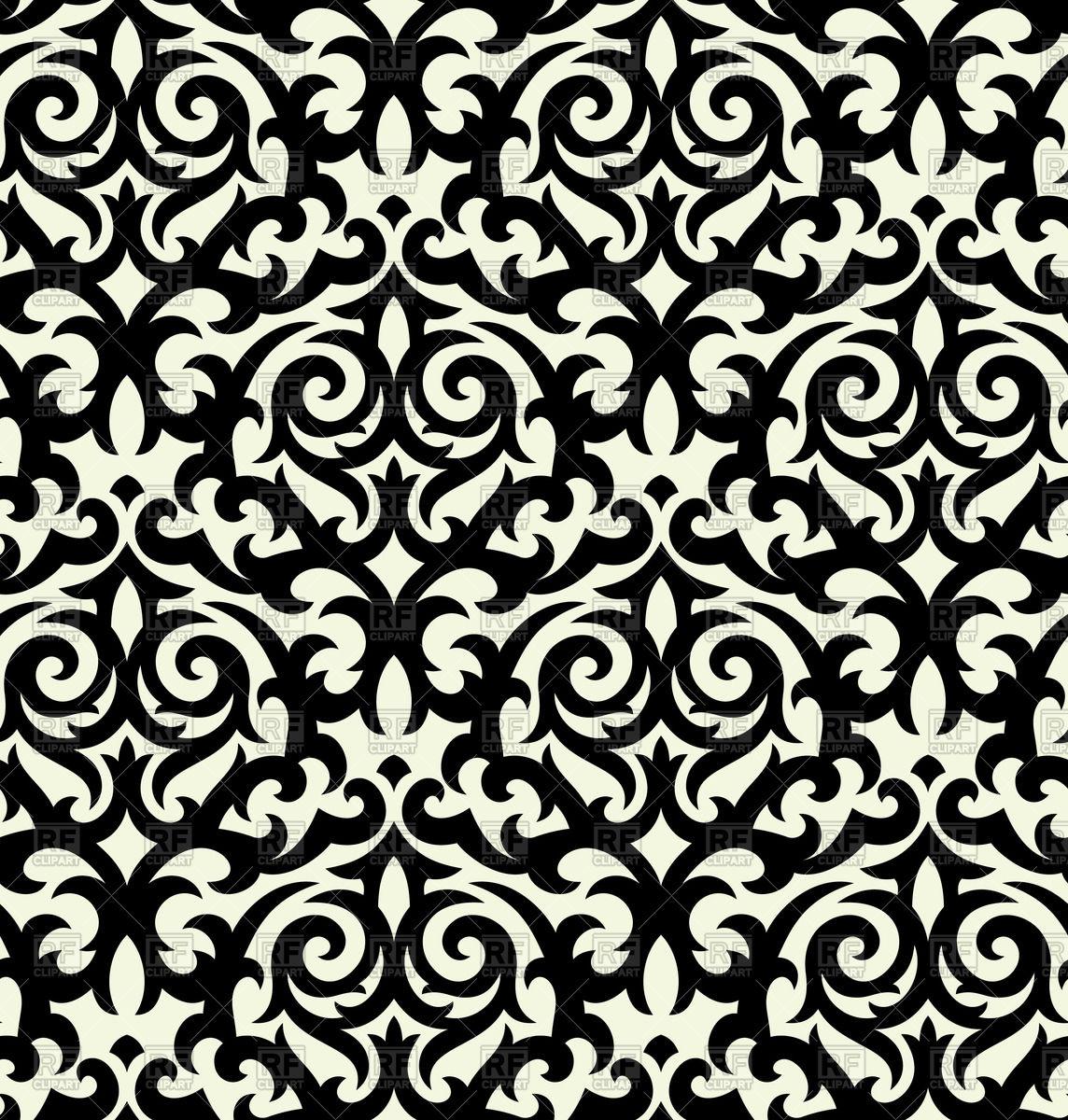 Seamless black damask background Stock Vector Image.