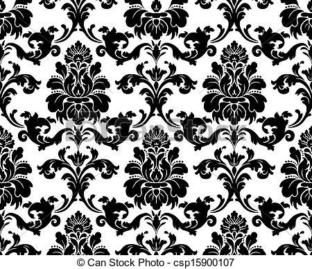 Vector. Seamless damask pattern..