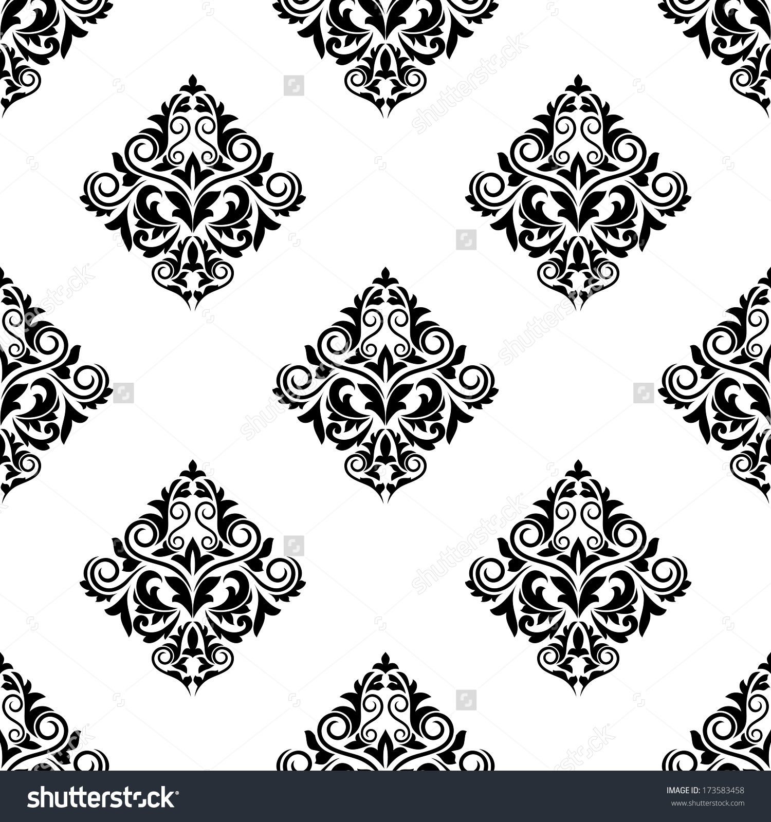 Damaskstyle Seamless Arabesque Pattern Floral Motifs Stock Vector.
