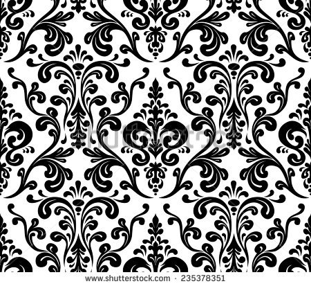 Medieval Floral Seamless Damask Style Design Stock Vector.