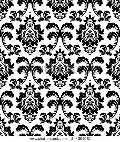 Black White Illustration Ornate Floral Arabesque Stock Vector.