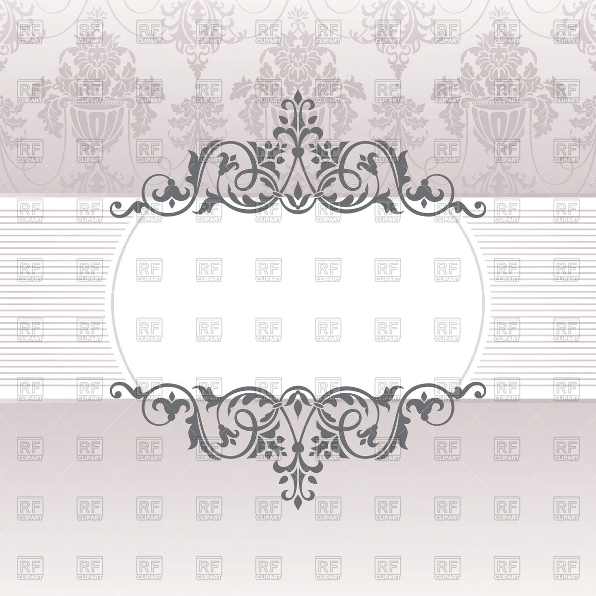 Vintage frame with floral borders on damask background Stock Vector Image.