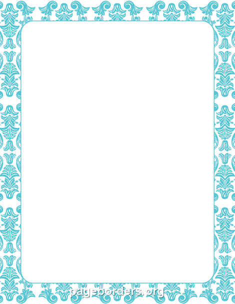 Blue Damask Border: Clip Art, Page Border, and Vector Graphics.