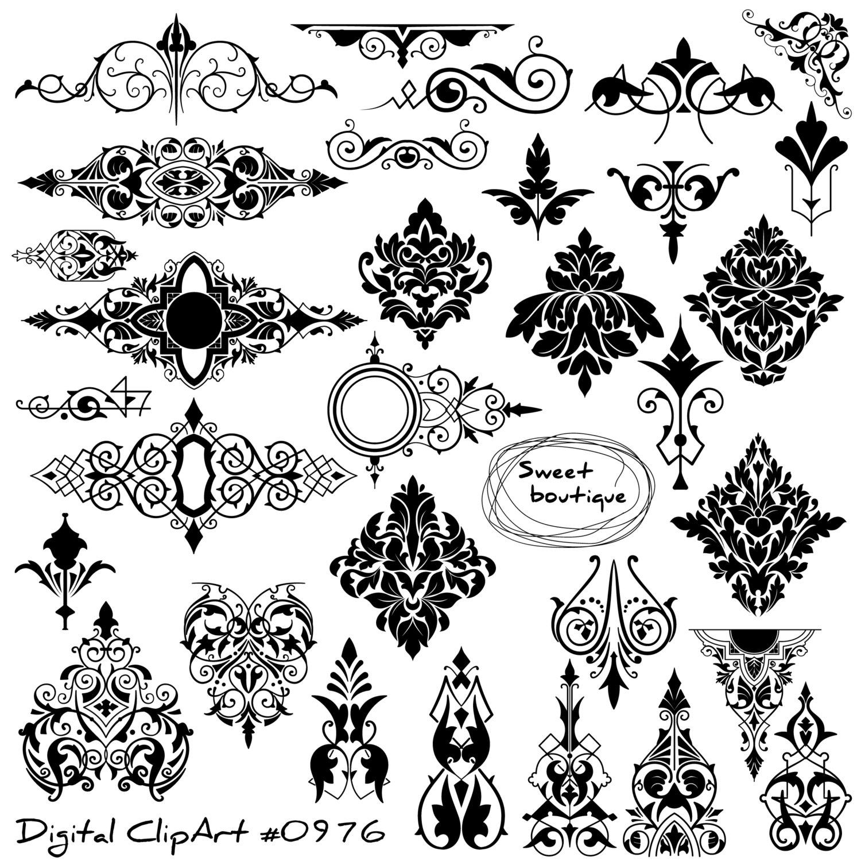 Digital Damask Clipart, Digital borders, Damask Element Clip Art, Damask  ClipArt, clip art digital, stamps damask, damask clip art 0976.