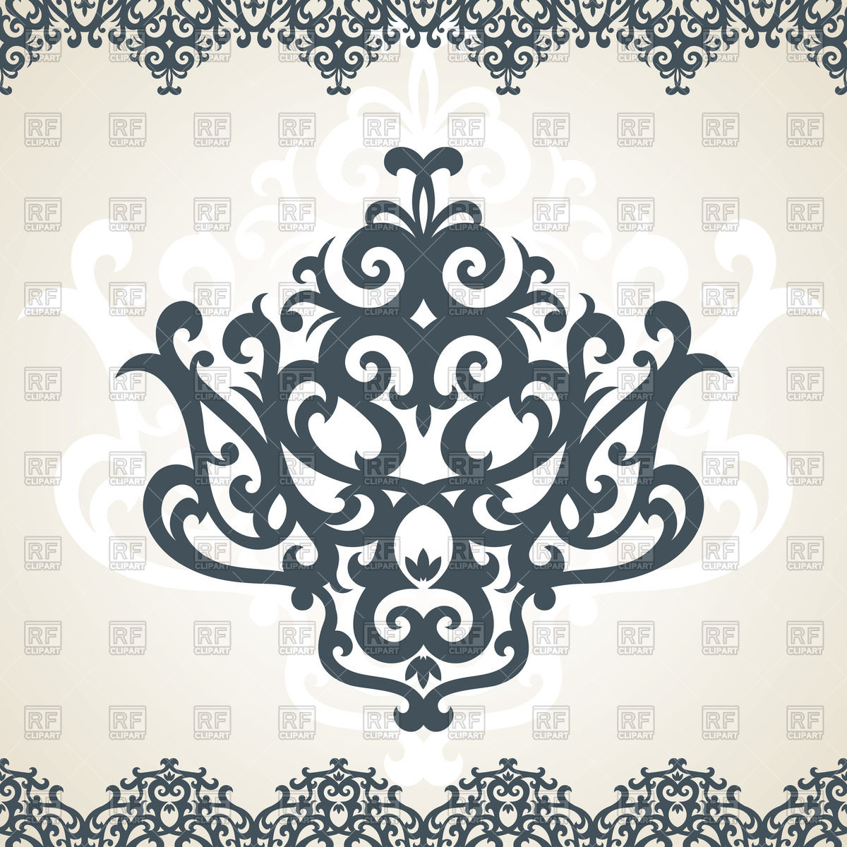 Damask ornament and border Stock Vector Image.
