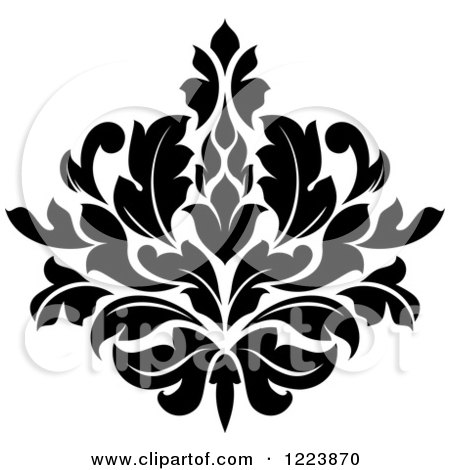 Clipart Of A Black And White Floral Damask Design 19 Royalty Free.