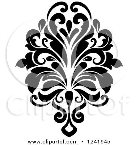 Clipart of a Black and White Arabesque Damask Design 16.