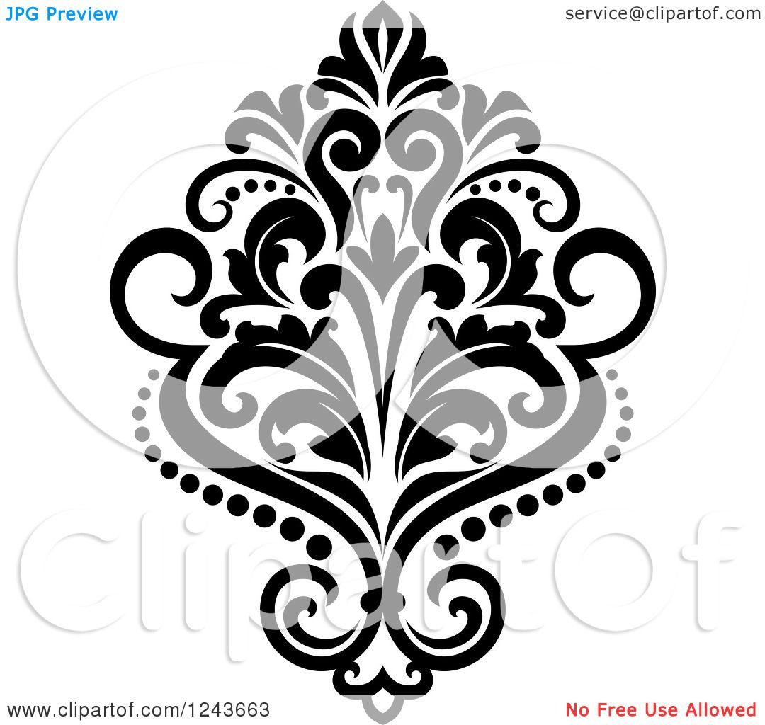 Clipart of a Black and White Arabesque Damask Design 23.