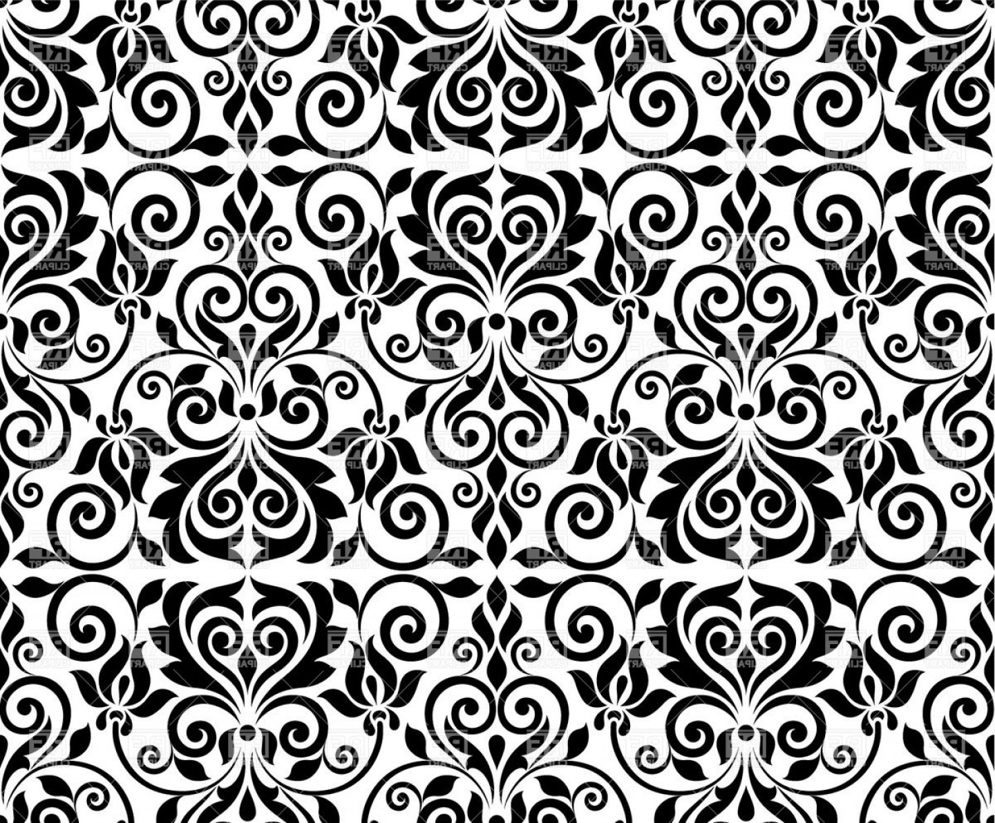 Seamless Damask Background Ornamental Classic Pattern Vector Clipart.
