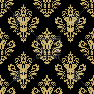 Seamless dark gold damask pattern Vector Image.
