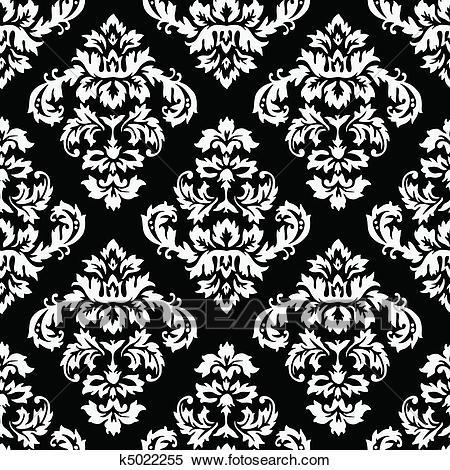 Damask Pattern Clipart.