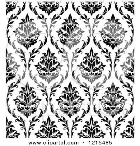 Clipart of a Black and White Seamless Vintage Damask Pattern.
