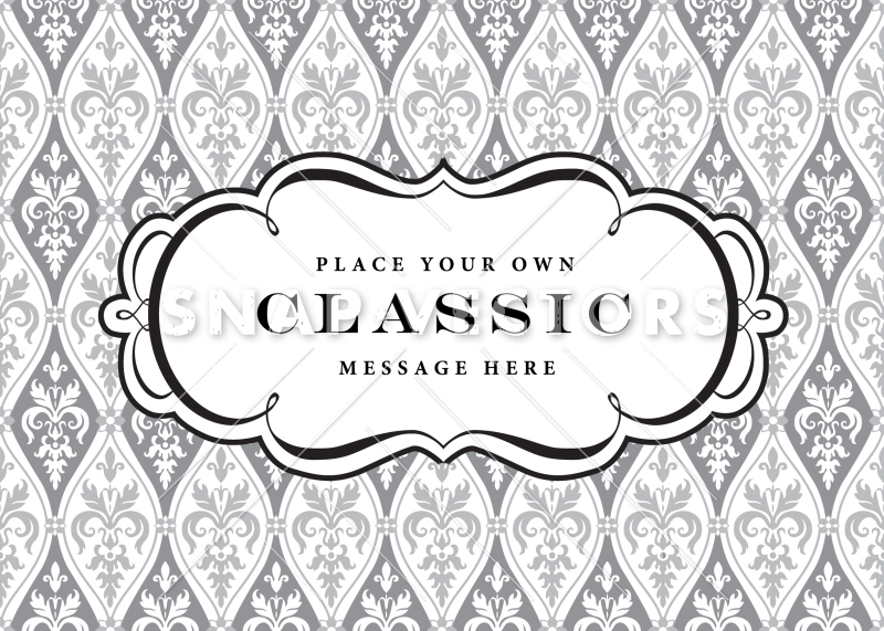 Vector Clipart Frame and Damask Pattern.