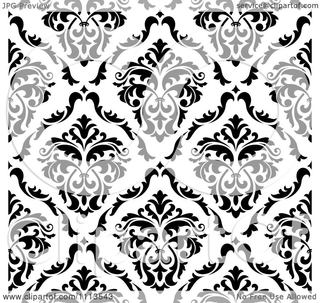 Clipart Black And White Triangular Damask Pattern Seamless.