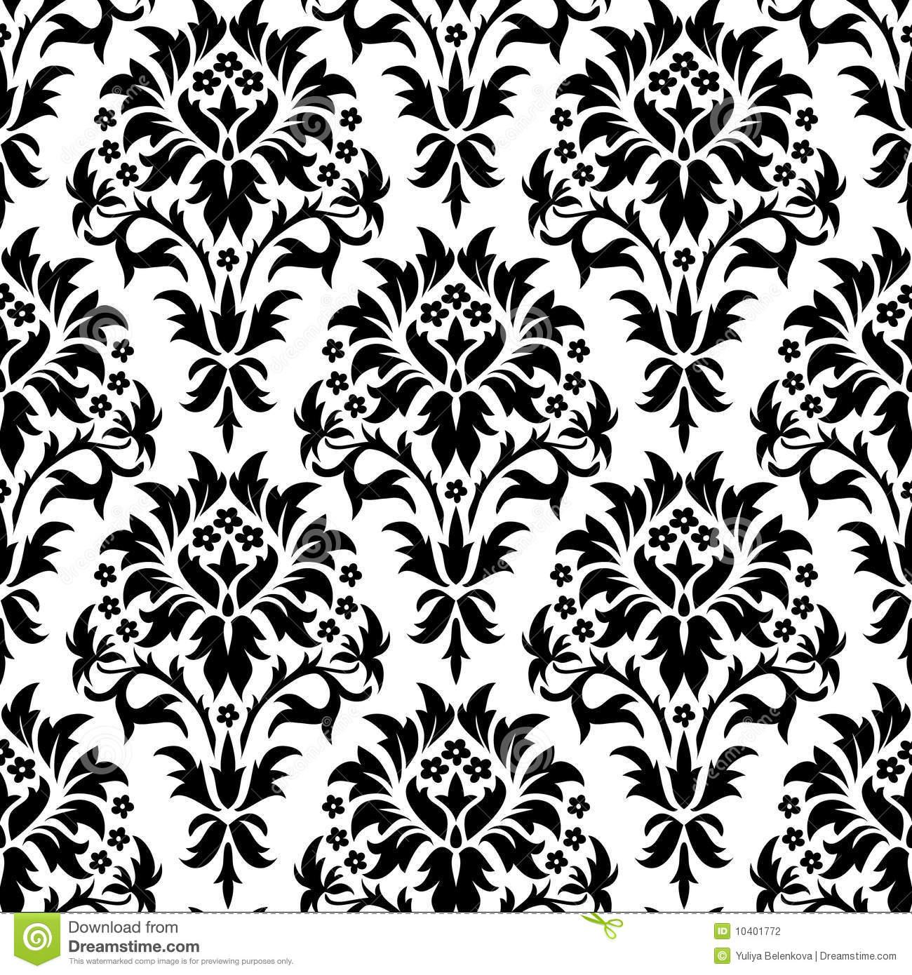 Seamless damask pattern stock vector. Illustration of scroll.