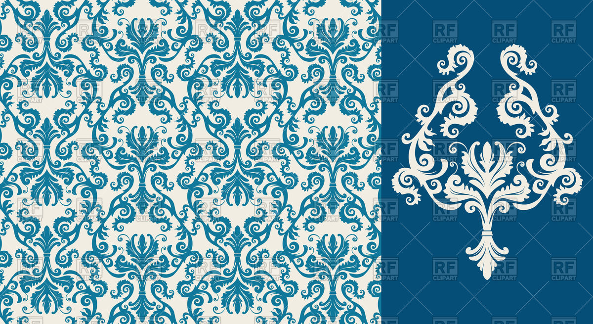 Seamless blue damask pattern Stock Vector Image.