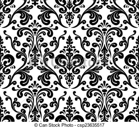 Vector. Seamless elegant damask pattern. Black and white.