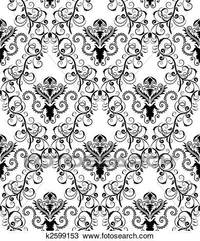 Seamless damask pattern Clipart.
