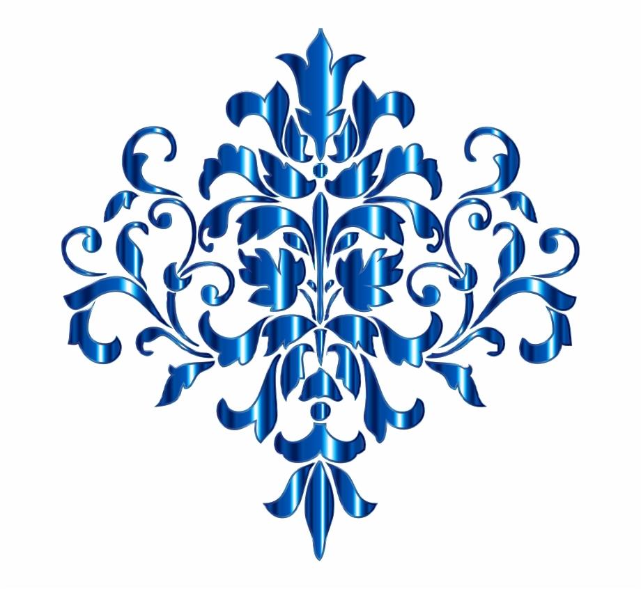 Aquamarine Damask Design No Background Medium Image.