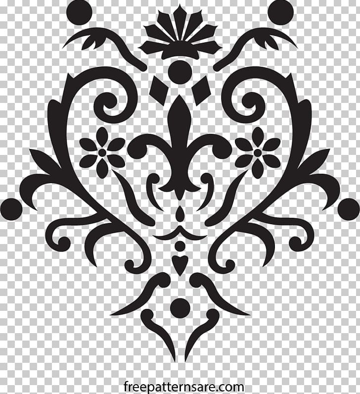 Damask Stencil Pattern PNG, Clipart, Art, Black, Black And White.