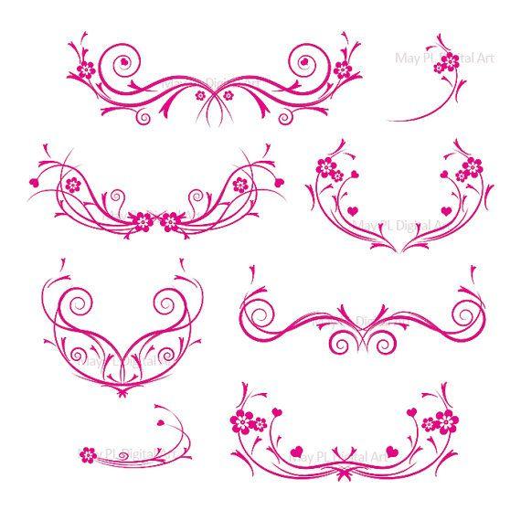 Flourishes HOT PINK Decorations Damask Decorative Flower Curly.