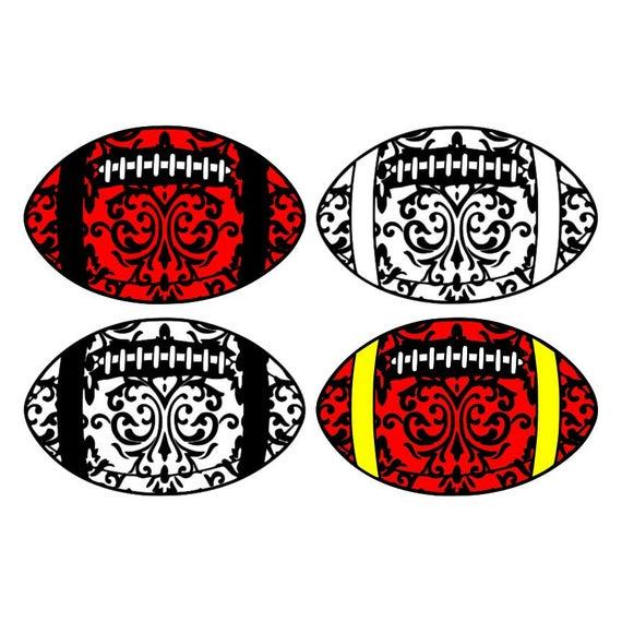 Damask football, 4 variations fancy fall sport mandala swirl clipart vector  graphics cut files jpg png cricut silhouette.