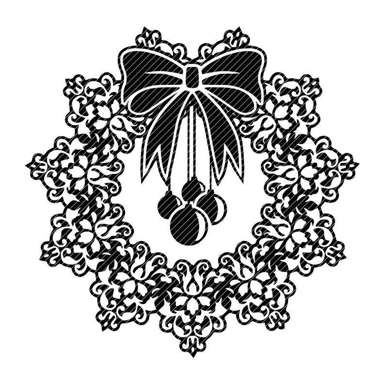 Damask Christmas wreath, zentangle swirl fancy mandala zen clipart vector  graphics cut files jpg png cricut silhouette cameo.