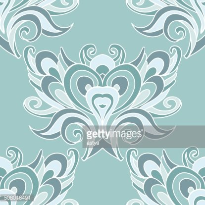 Blue oriental damask swirl seamless vector design Clipart.