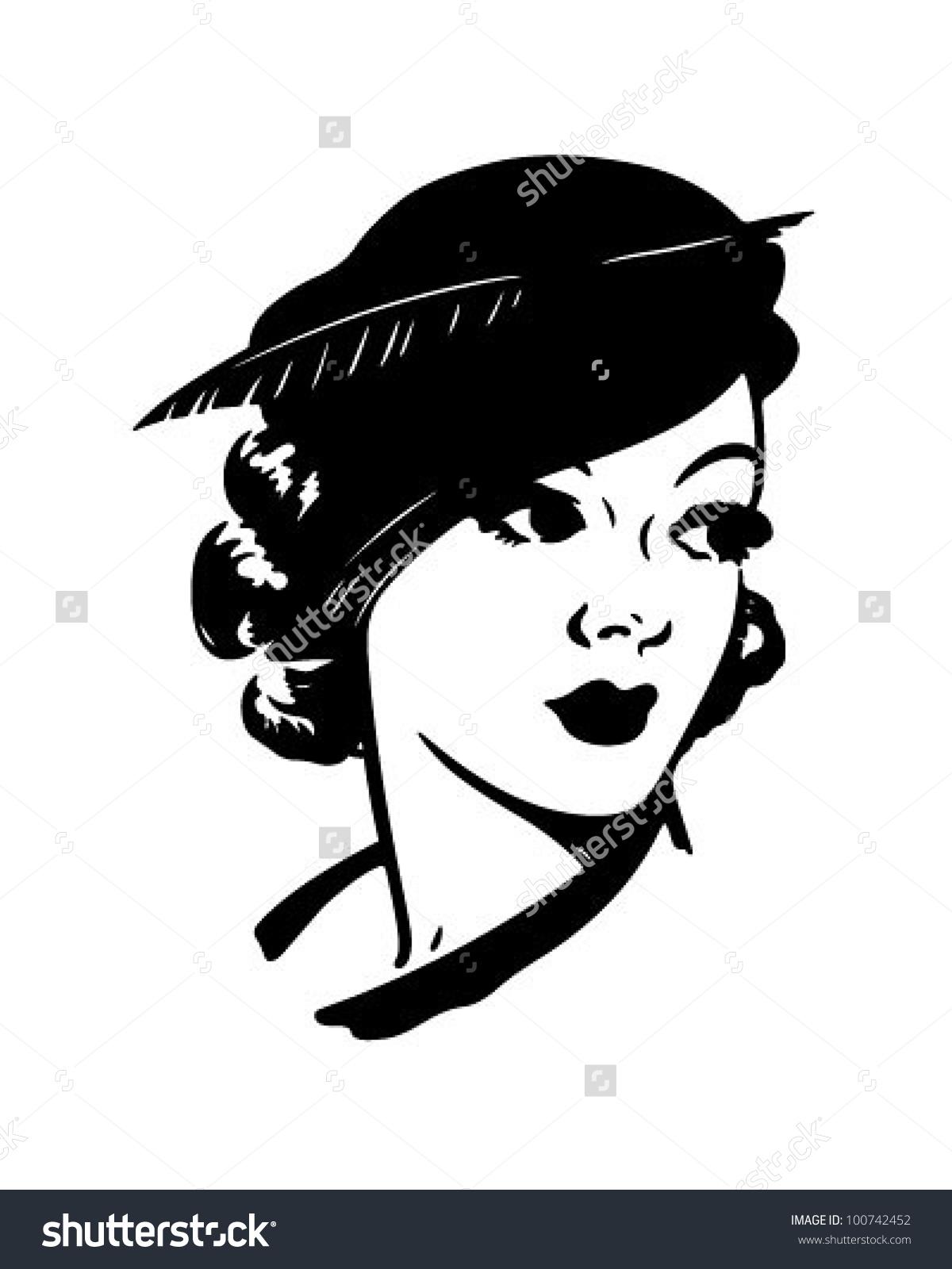 Cute Dame Retro Clipart Illustration Stock Vector 100742452.