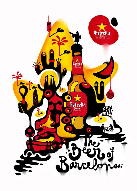 Estrella Damm, the Beer of Barcelona by Alex Trochut.