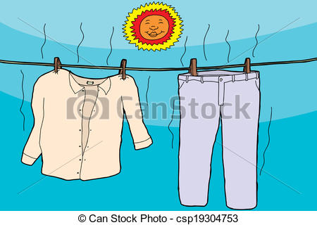 Clipart Vector of Clothes Drying in Sun.