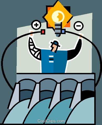 Hydro dam Royalty Free Vector Clip Art illustration.