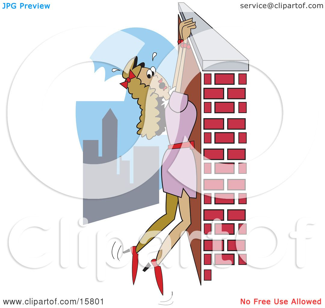 Damsel In Distress Hanging From A Wall High Above A City Clipart.