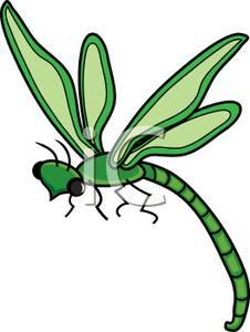 Green Damselfly Clip Art Image.