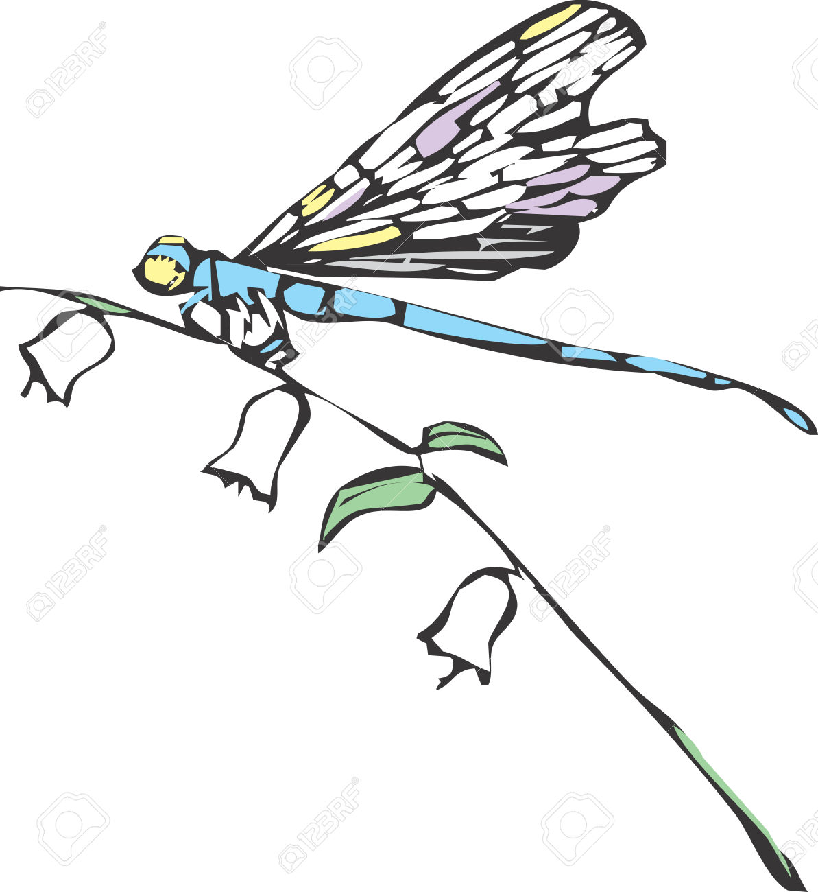 A Dragonfly Or Damselfly On A Flower Stem. Royalty Free Cliparts.