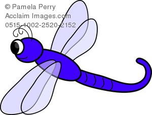 Clip Art Illustration of a Cartoon Dragonfly.