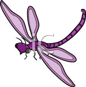 Purple Dragonfly Or Damselfly Clipart Image.