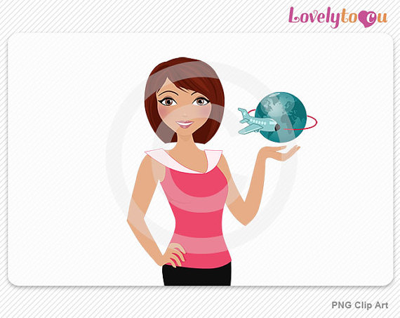 Globe travel woman, travel agent digital PNG clipart (Dana 541.