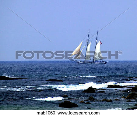 Stock Photography of Sailboat, the Spirit of Dana Point, at sea in.