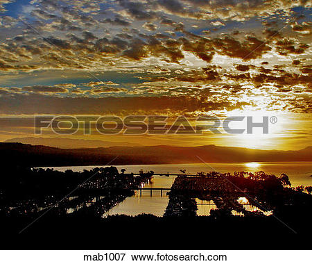 Picture of Silhouette of Dana Point Harbor, CA at sunrise. mab1007.